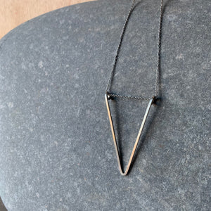 "22"" Necklace with Sterling Triangle Pendant by Jovy Rockey"
