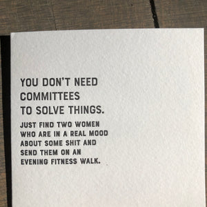 I Declare: Committees Letterpress Greeting Card by Sapling Press - Upstate MN