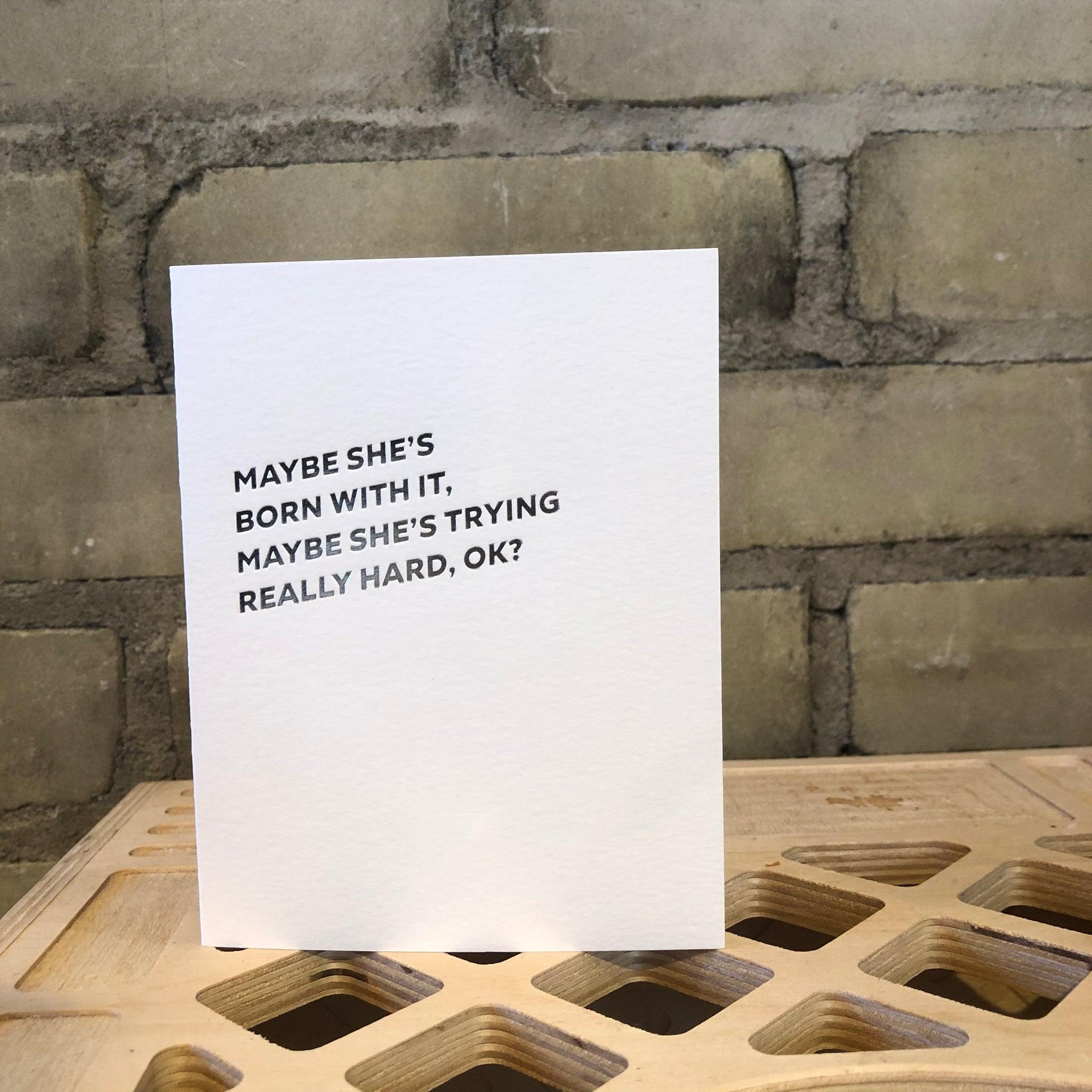 Self-Care : Born with it Letterpress Greeting Card by Sapling Press - Upstate MN
