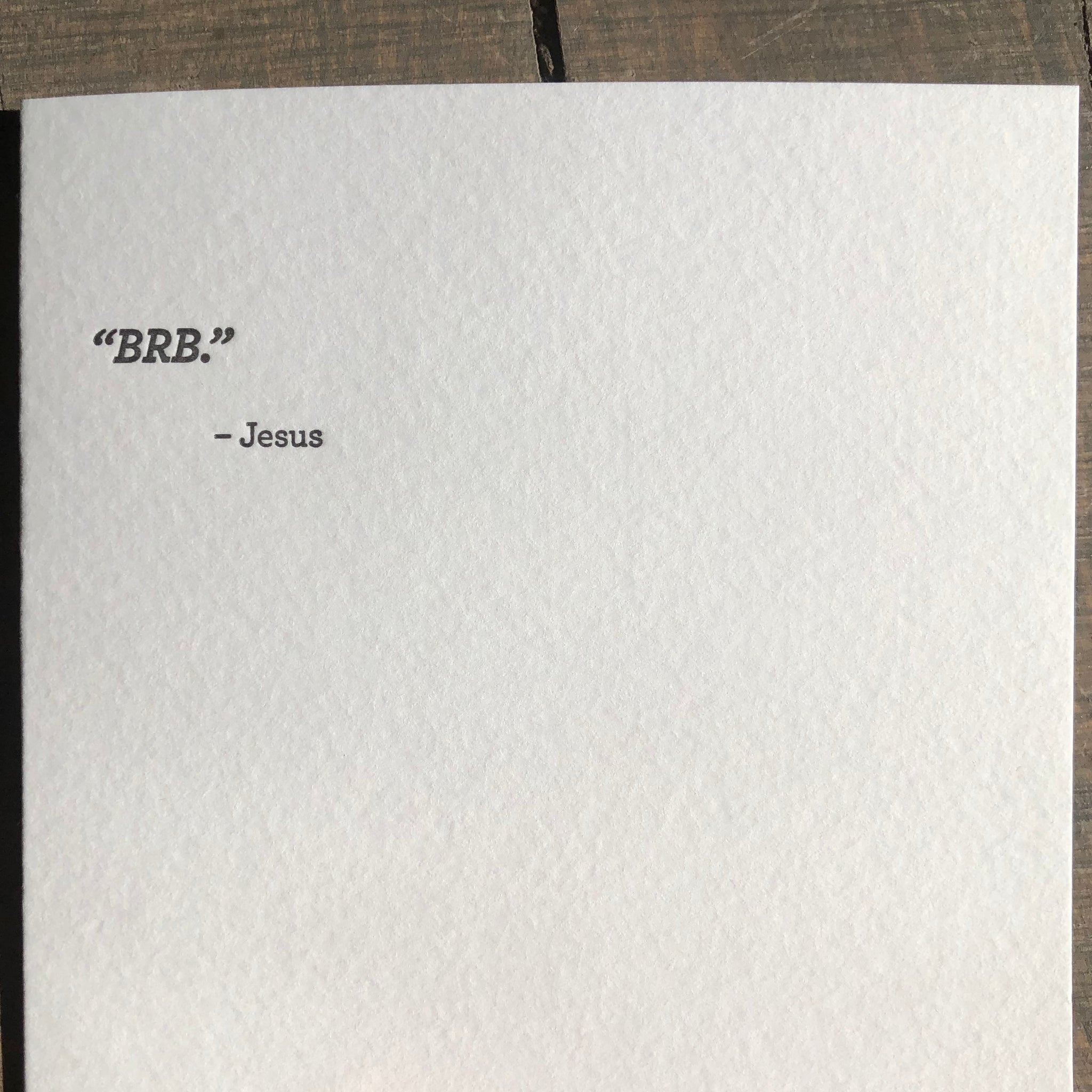 Mild Confessions: BRB Letterpress Greeting Card by Sapling Press - Upstate MN