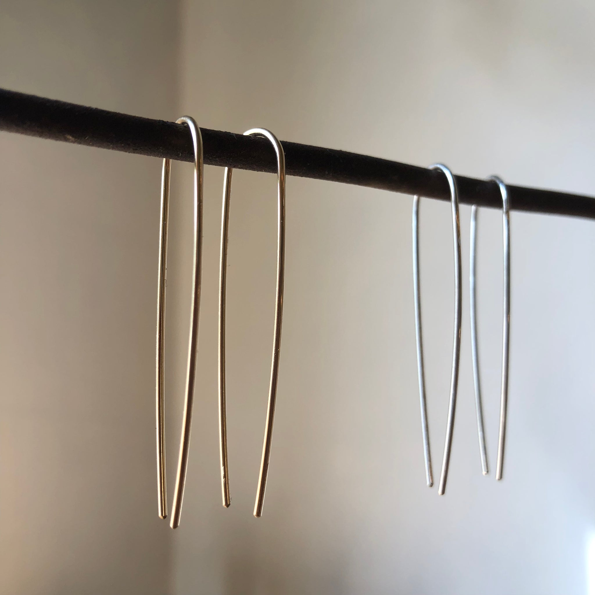 Open Hoop Long Pull Through Earrings by Jovy Rockey - Upstate MN