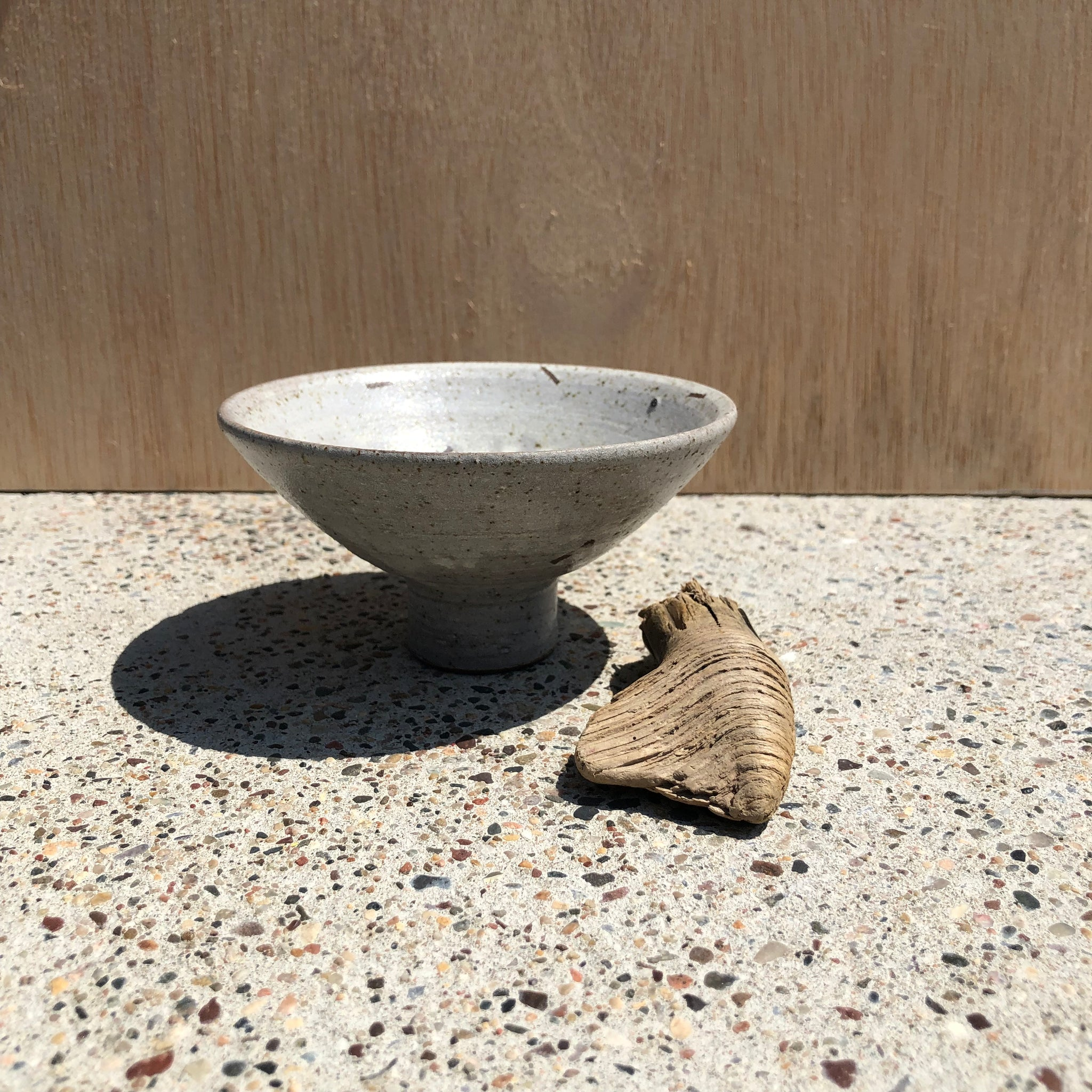 Medium Ceramic Footed Bowl with Dashes and X by Adam Greutzmacher