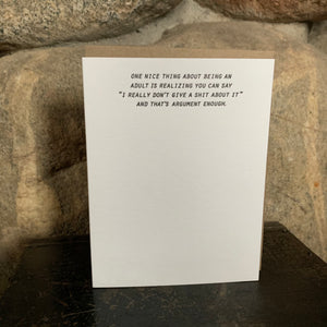 ARGUMENT ENOUGH Letterpress Greeting Card by Sapling Press