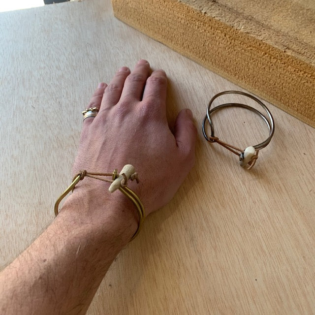Antler and Brass Spring Clasp Bracelet by Eric Silva - Upstate MN