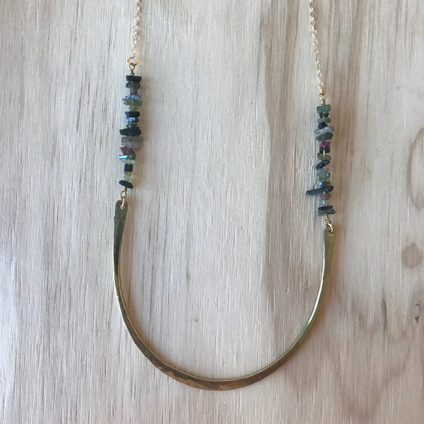 Hand-Hammered Brass and Tourmaline Aya Necklace by Son of a Sailor