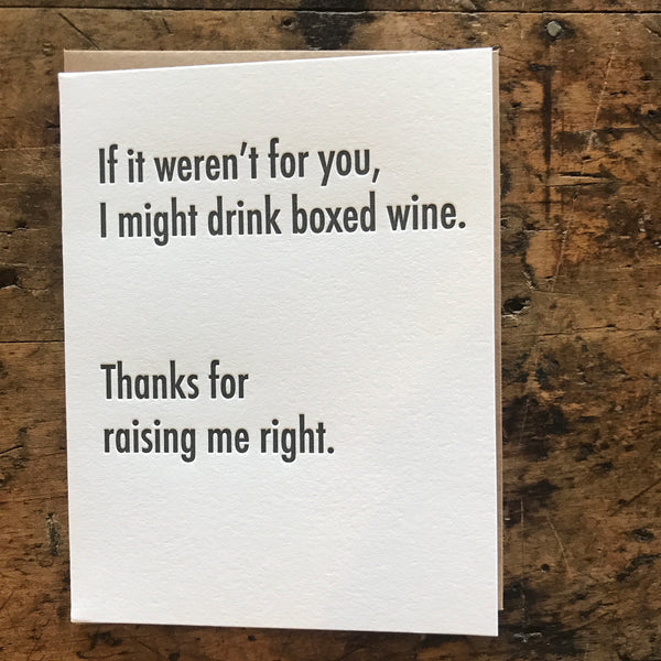 BoxWine Letterpress Greeting Card by Matt Butler - Upstate MN