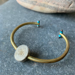 Brass Bracelet with Carved Antler and Turquoise Beads by Eric Silva