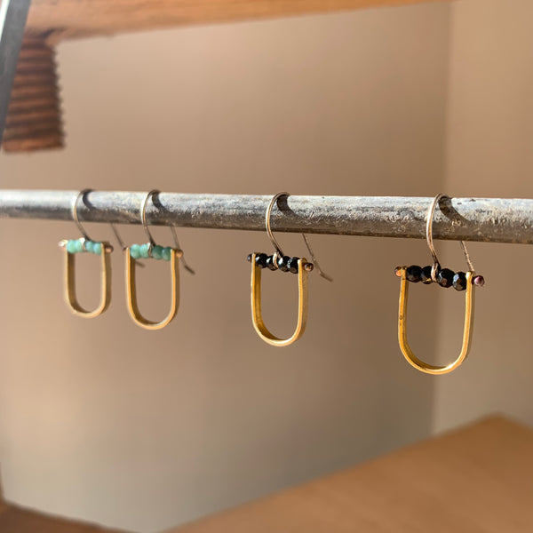 Brass U-shaped Earrings with Stone by Eric Silva - Upstate MN