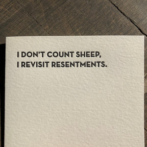 Resentments Letterpress Greeting Card by Sapling Press - Upstate MN