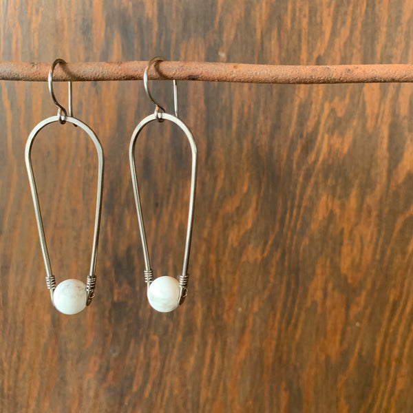 Dangle Earrings with Matte Howlite by Jovy Rockey - Upstate MN