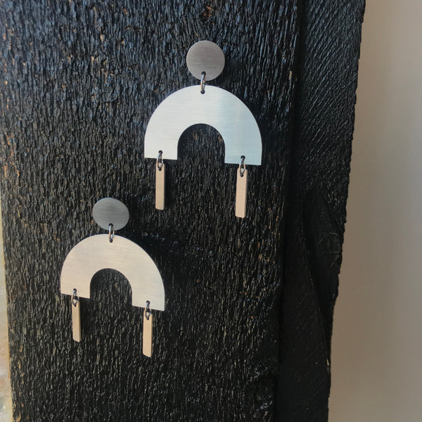 Arc Building Block Stainless Steel Earrings by Days of August - Upstate MN
