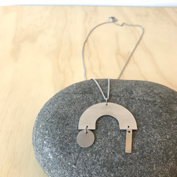 Arc Neutral Building Block Stainless Steel Necklace by Days of August - Upstate MN