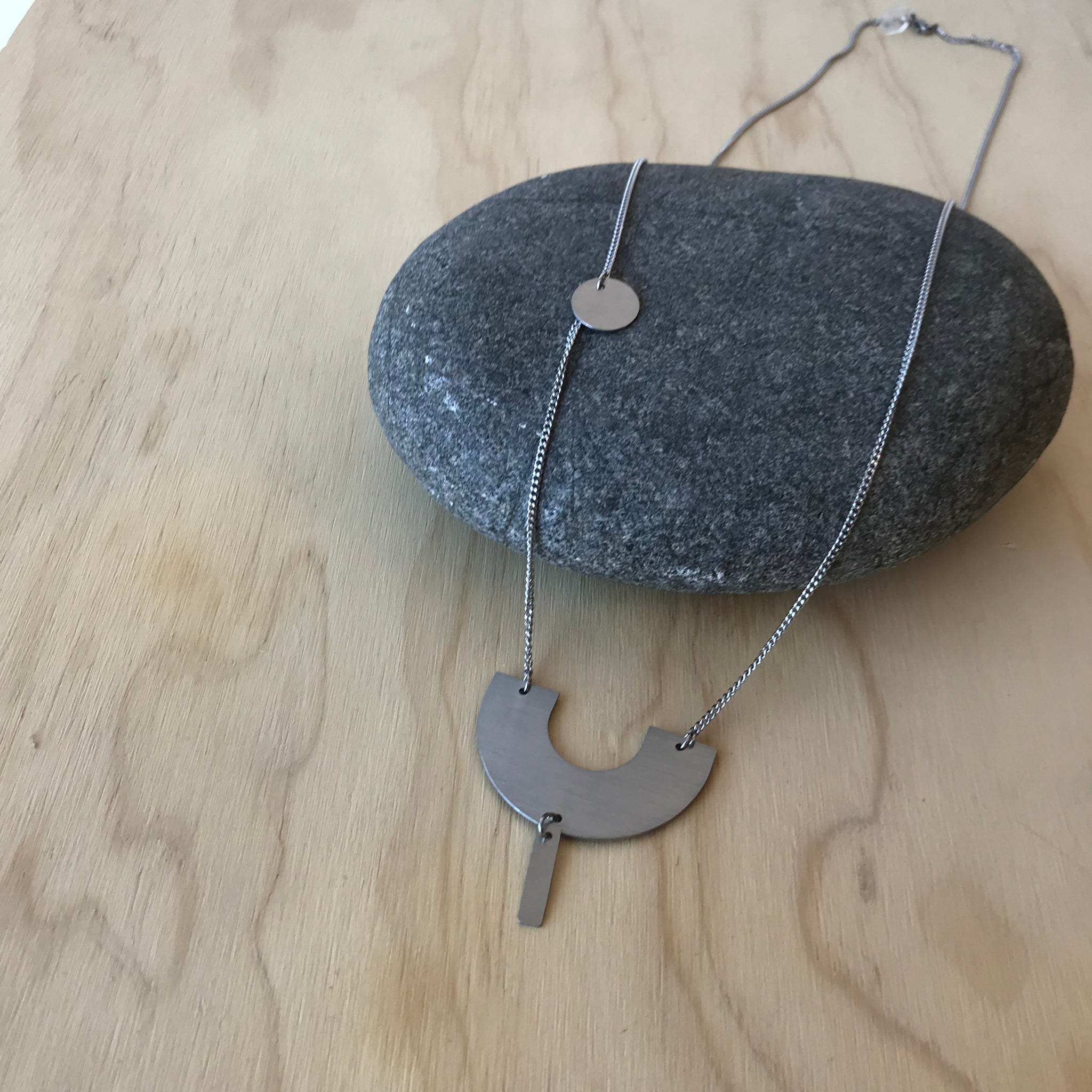 Arc Detail Building Block Stainless Steel Necklace by Days of August - Upstate MN