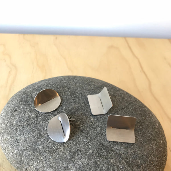 Folded Profile Stainless Steel Earrings by Days of August - Upstate MN