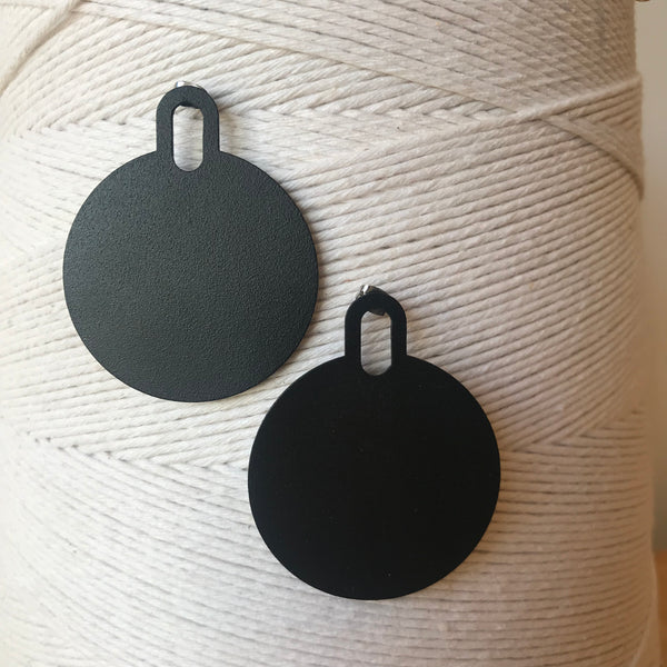 Large Padlock Earrings Stainless Steel and Black Powder-coated Earrings by Days of August - Upstate MN