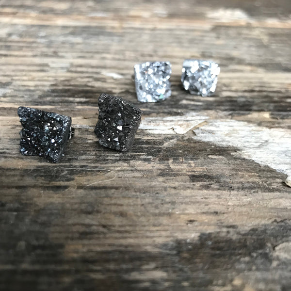 Raw Druzy Quartz Stud Earrings by Days of August