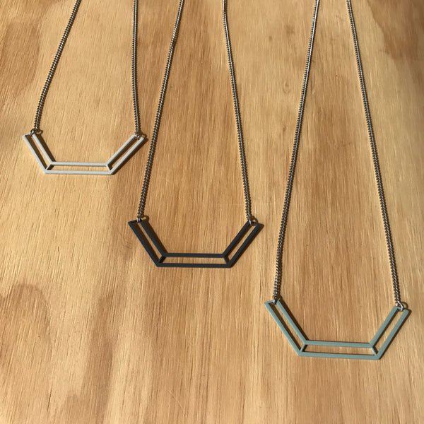 The Geo Cutout Stainless Steel Powder-coated Necklace in Grey by Days of August