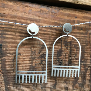 Large Stainless Steel The Tassel Post Earrings by Days of August - Upstate MN