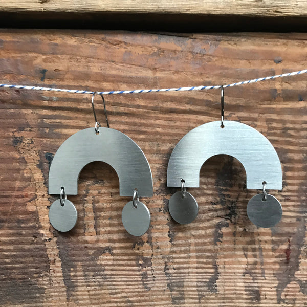 Arc Circle Building Block Stainless Steel Earrings by Days of August - Upstate MN