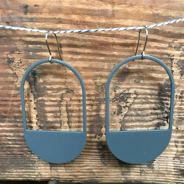The Capsule Stainless Steel and Enamel Hook Earrings in Gray by Days of August