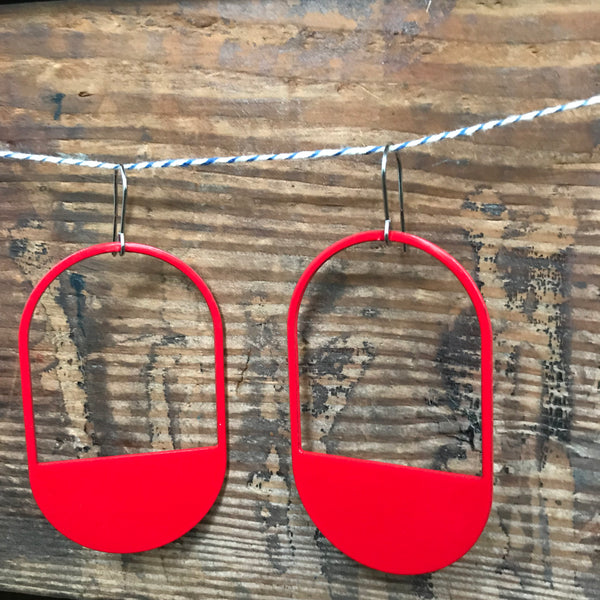 The Capsule Stainless Steel and Enamel Hook Earrings in Red by Days of August