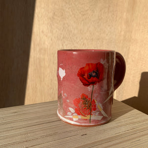 Decaled Earthenware Mug with Roses and Poppies by Justin Rothshank