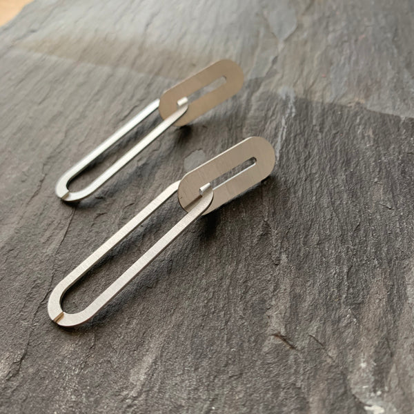 Double Link Stainless Steel Earrings by Days of August - Upstate MN