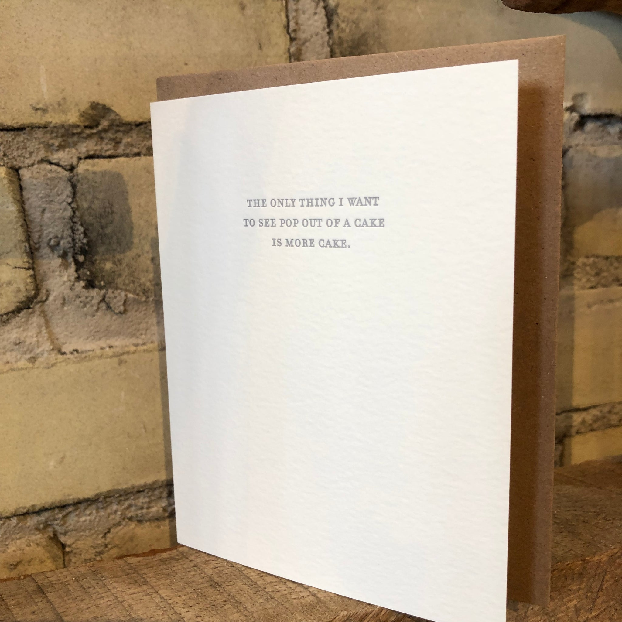 Mild Confessions: More Cake Letterpress Greeting Card by Sapling Press - Upstate MN