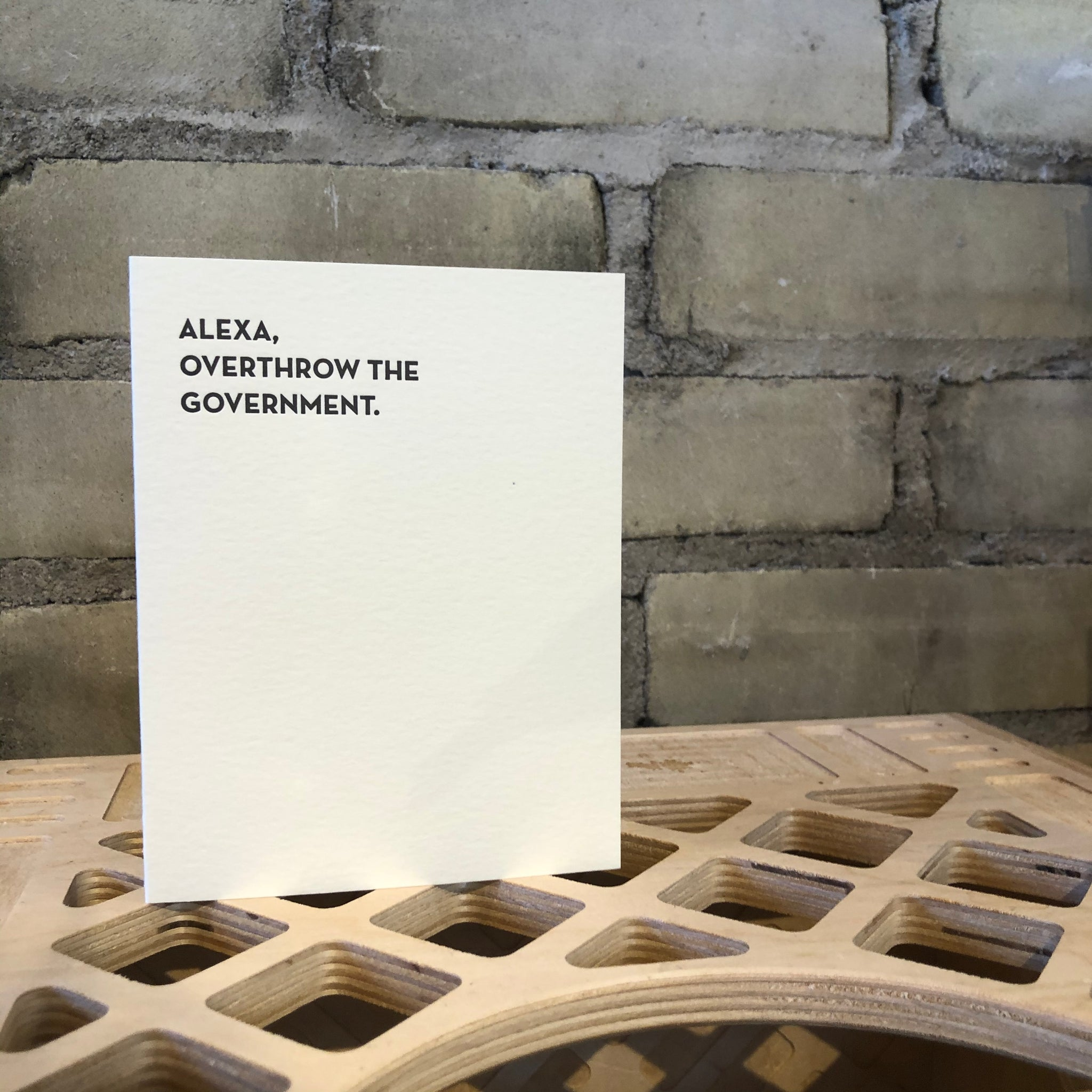 Alexa Letterpress Greeting Card by Sapling Press - Upstate MN