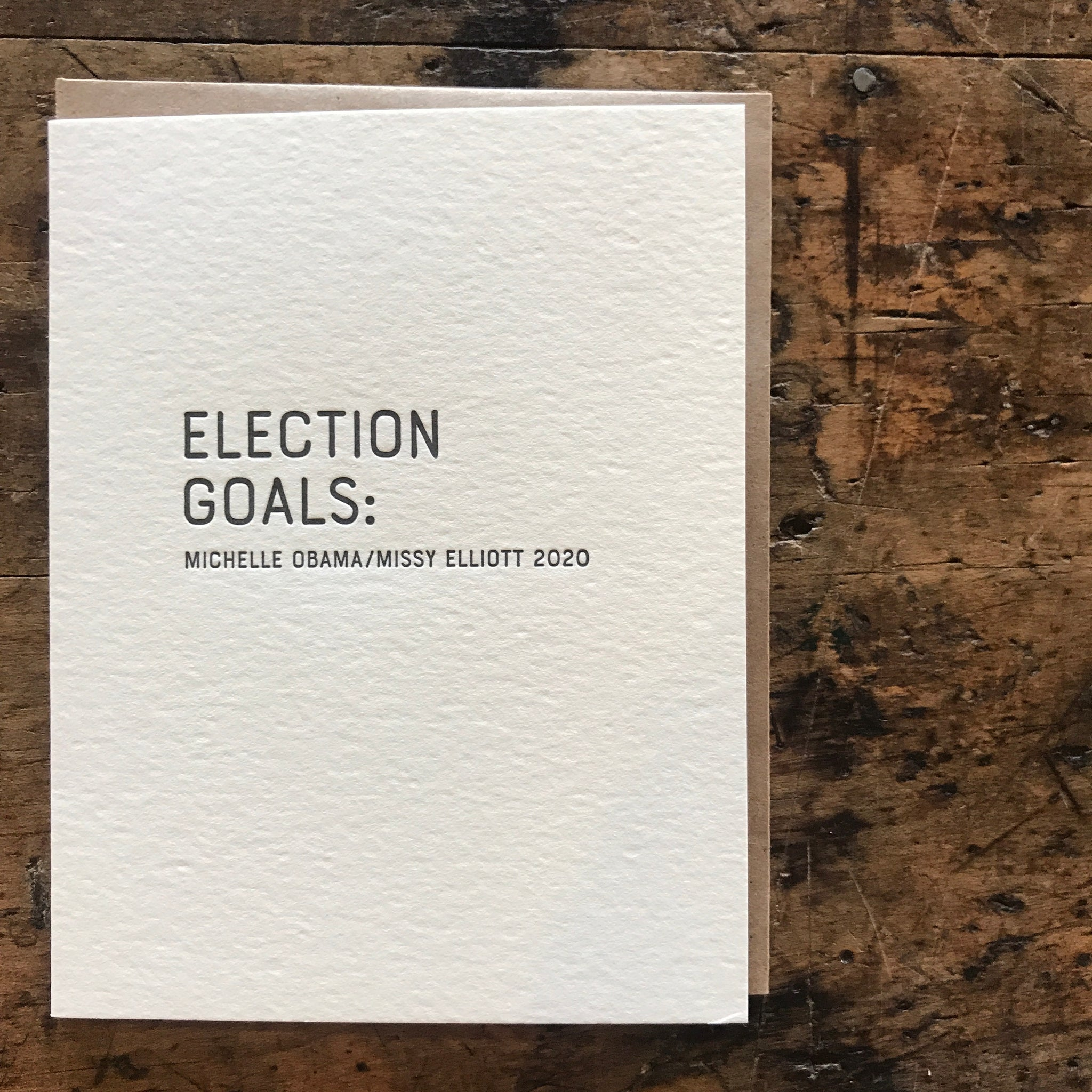 Aim High: Obama/Elliot Letterpress Greeting Card by Sapling Press - Upstate MN