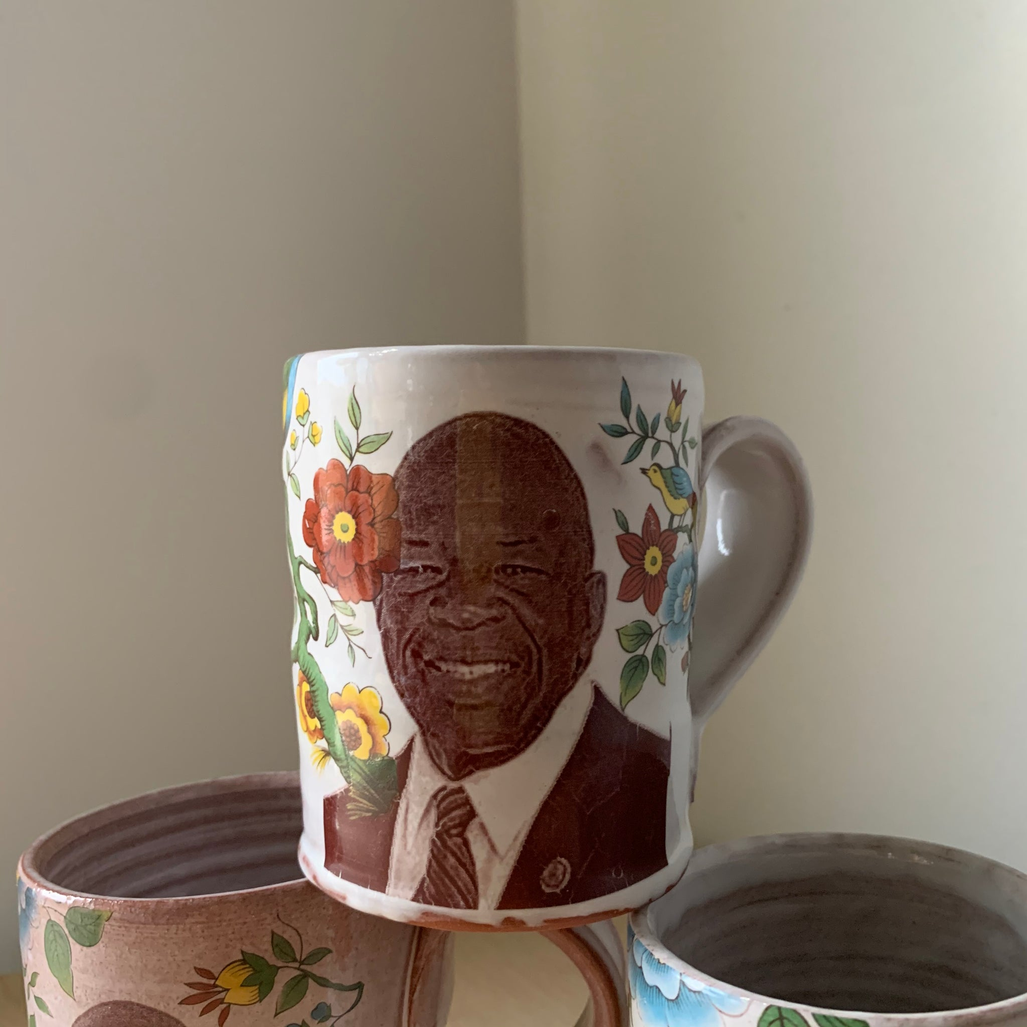 Elijah Cummings Floral Decorated Ceramic Mug by Justin Rothshank - Upstate MN