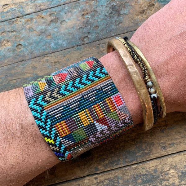 Extra Large CAPE Bead Mosaic Bracelet by Julie Rofman - Upstate MN