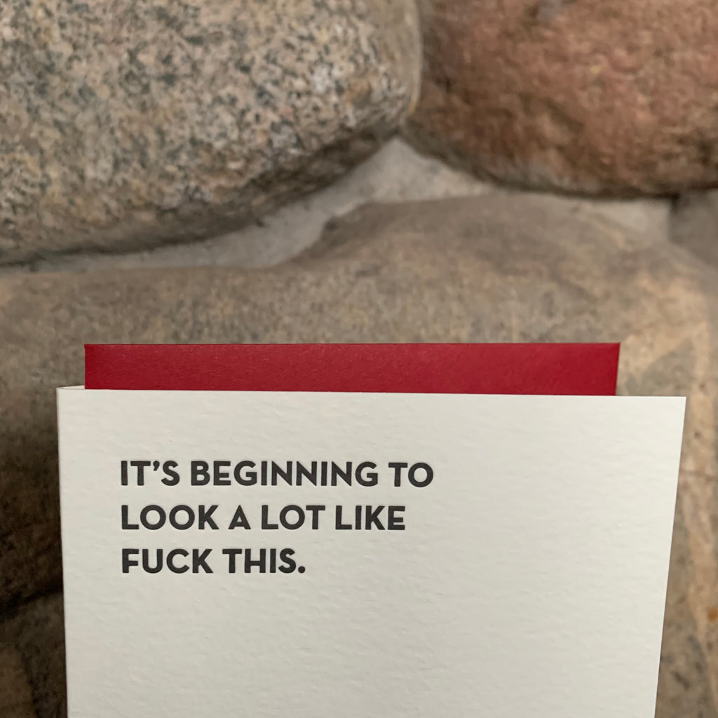 FUCK THIS Letterpress Greeting Card by Sapling Press