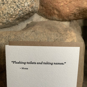 Flushing Toilets Letterpress Greeting Card by Sapling Press