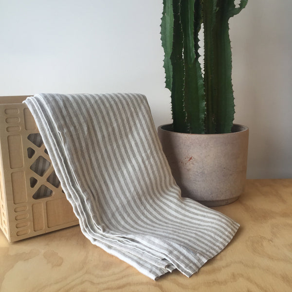 Linen Chambray Throw in Natural Stripe by Fog Linen