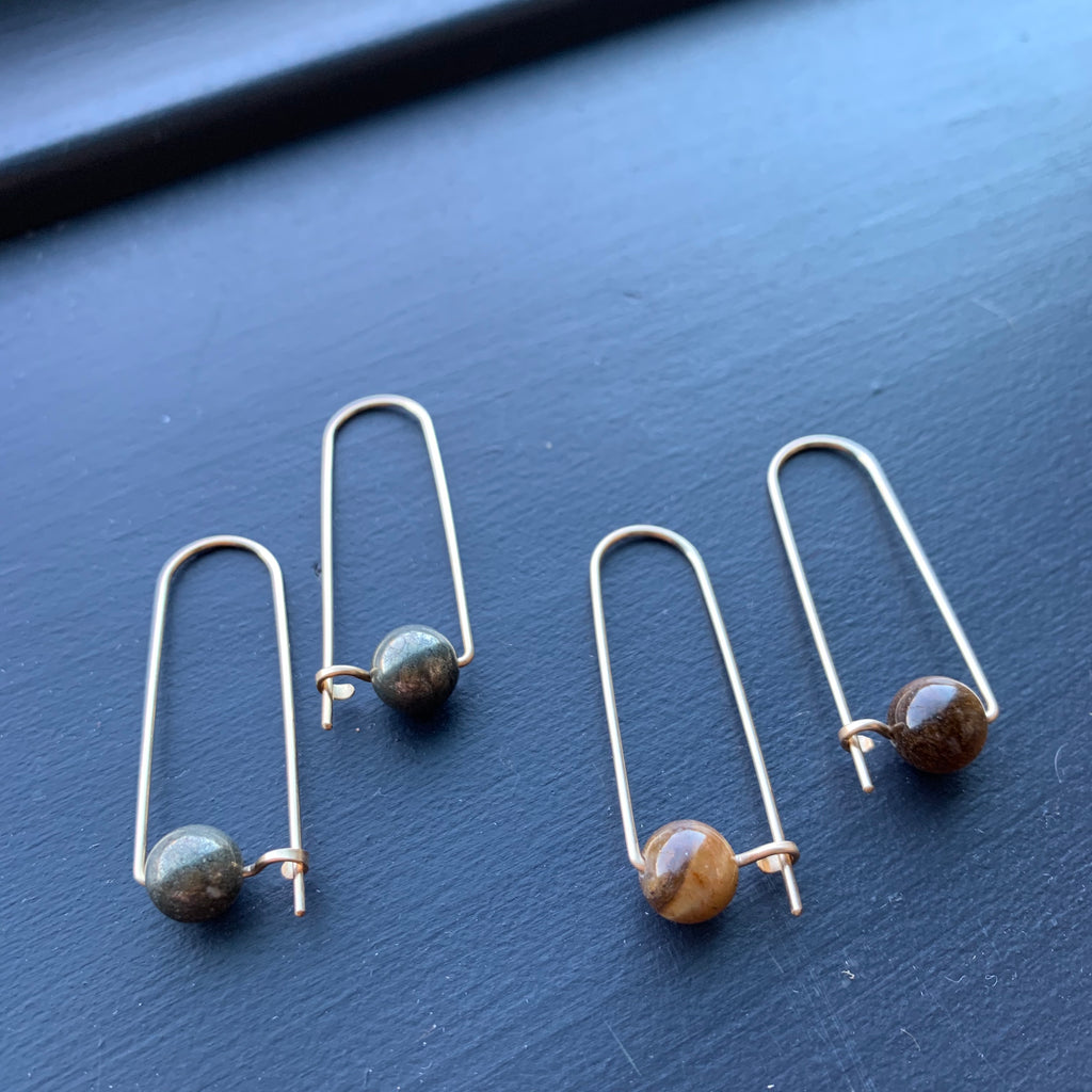 Gold Fill Hooked Arc with Stone Earrings by Jovy Rockey