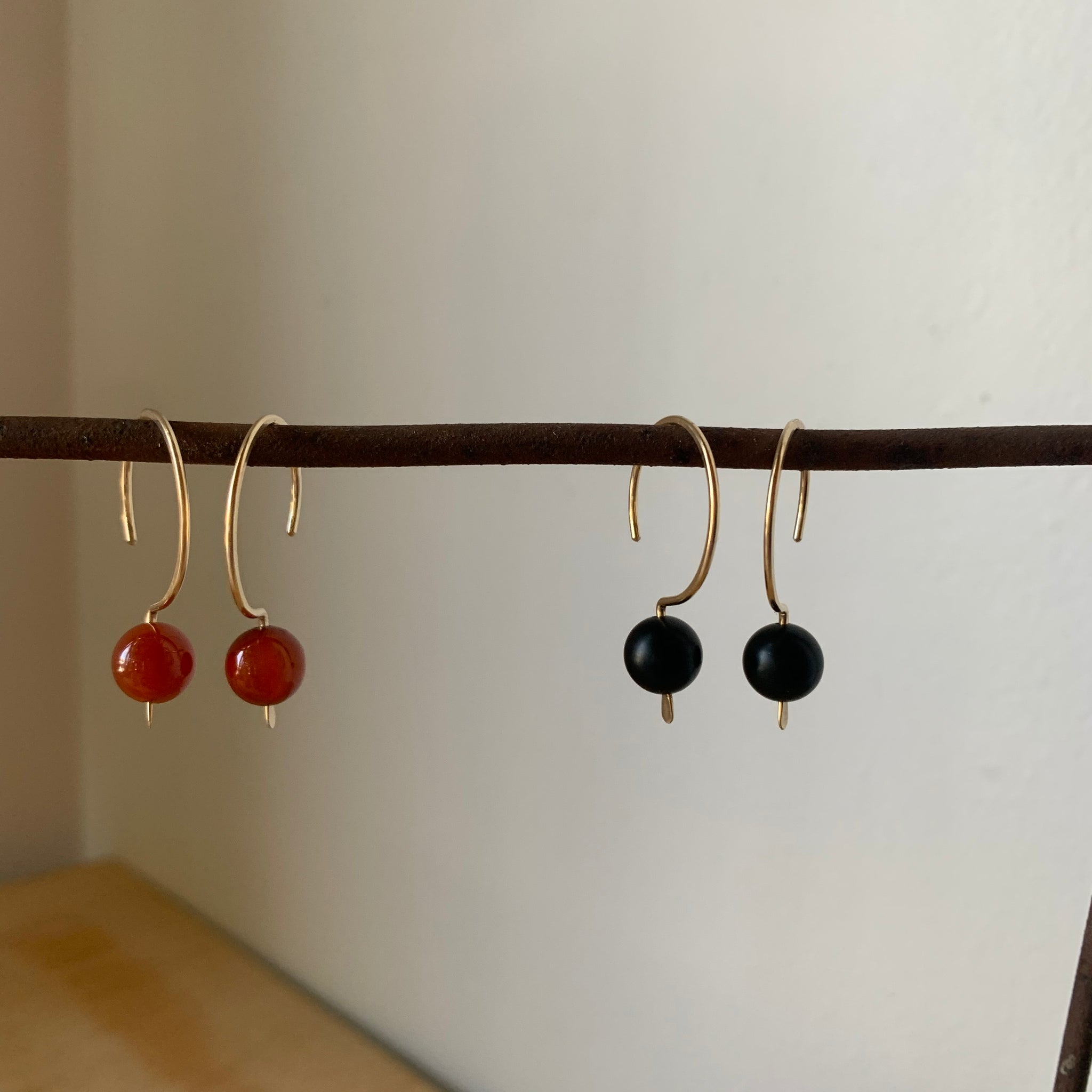 Gold Fill Hook Pull-Through Earrings with Stone Bead by Jovy Rockey - Upstate MN