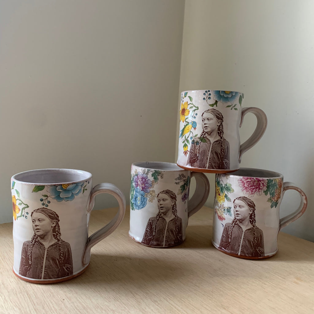 Greta Thunberg Floral Decorated Ceramic Mug by Justin Rothshank - Upstate MN