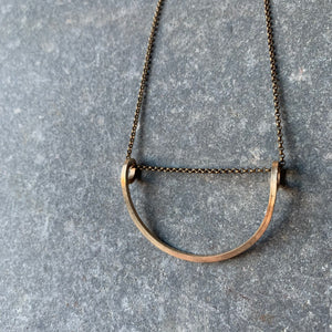 Half Loop Brass Necklace by Jovy Rockey