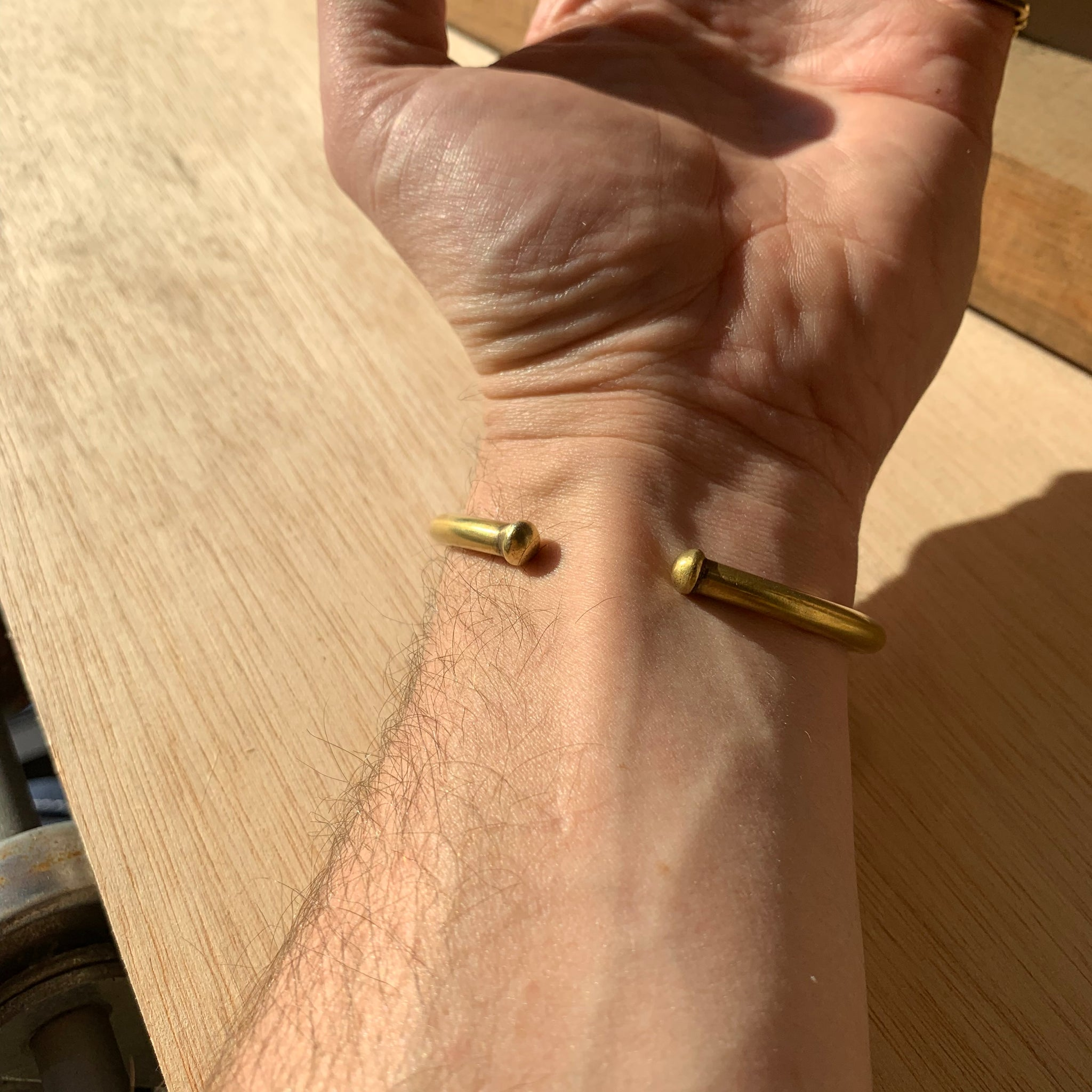 Hammered Brass Bracelet by Eric Silva