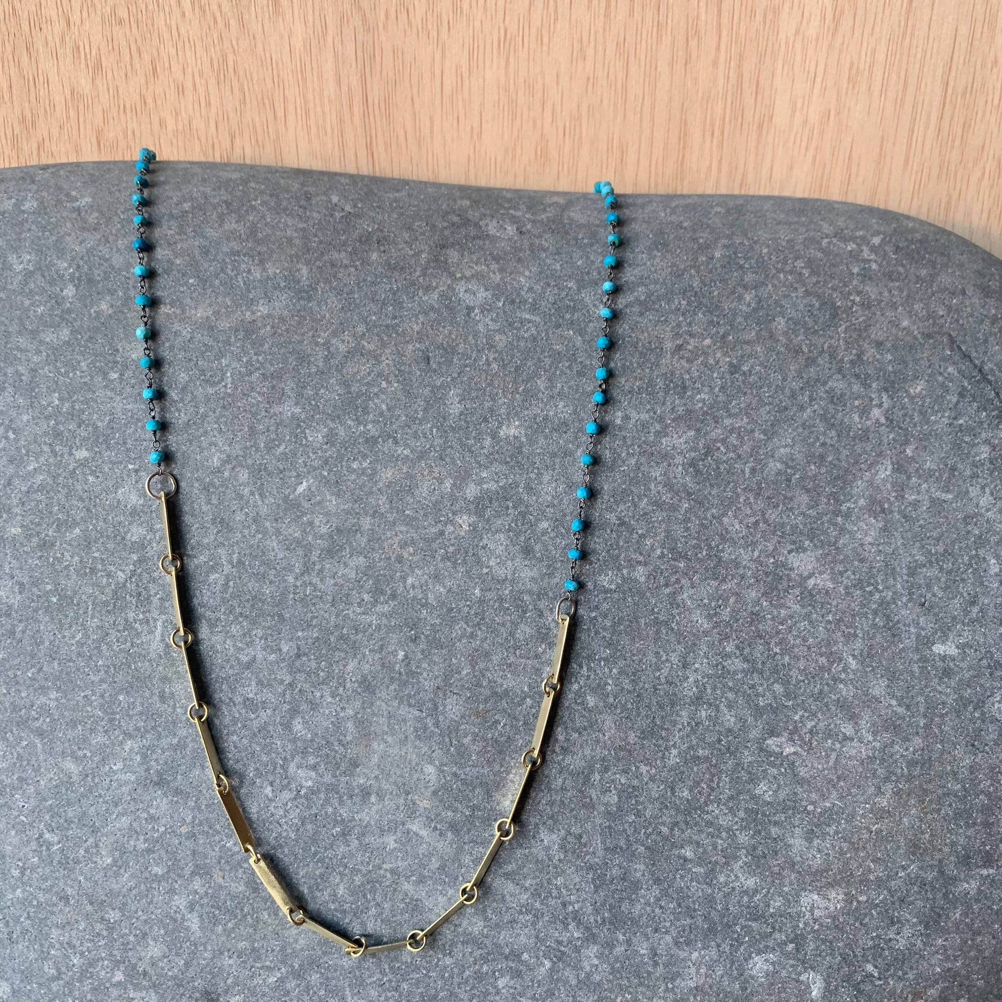 Handmade Brass Bar Necklace with Turquoise by Eric Silva
