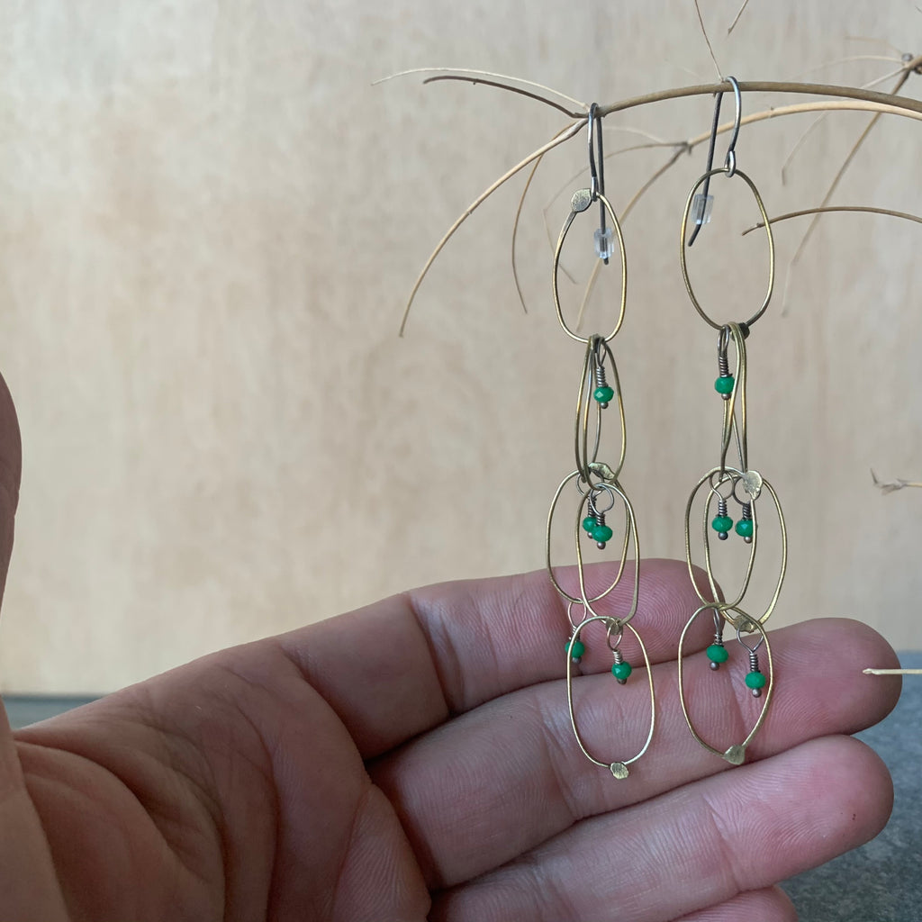 Handmade Brass Chain Earrings with Emeralds by Eric Silva