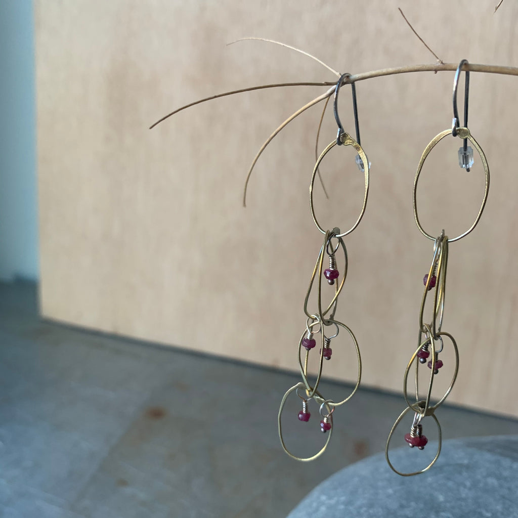 Handmade Brass Chain Earrings with Rubies by Eric Silva