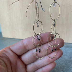 Handmade Brass Chain Earrings with Spinel by Eric Silva