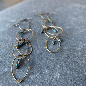 Handmade Brass Chain Earrings with Turquoise by Eric Silva