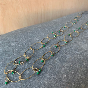 Handmade Brass Chain Necklace with Emerald by Eric Silva
