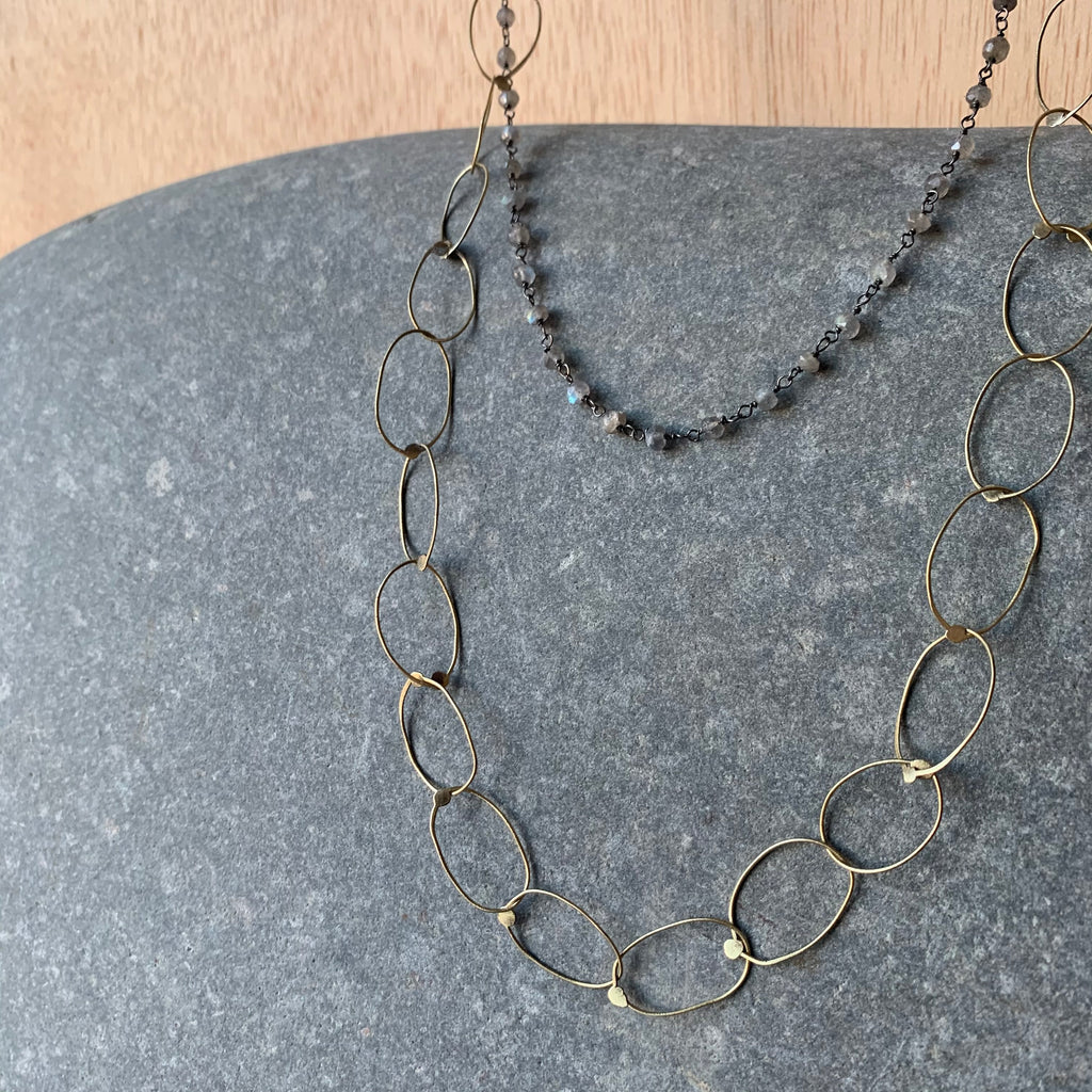 Handmade Brass Chain Necklace with Labradorite Layer by Eric Silva