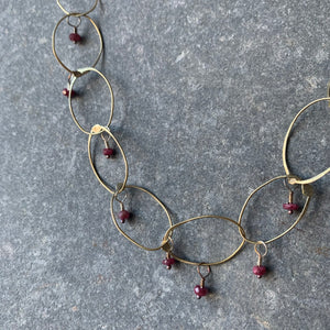 Handmade Brass Chain Necklace with Ruby by Eric Silva