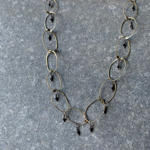 Handmade Brass Chain Necklace with Spinel by Eric Silva