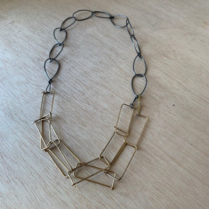 Handmade Brass and Steel Link Necklace by Eric Silva - Upstate MN